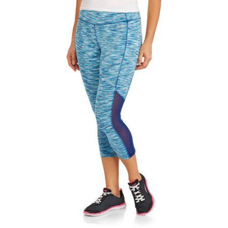 fc43ca4120f072 Avia Women's Active Performance Capri Leggings with Mesh Inserts, Size:  Large, Blue