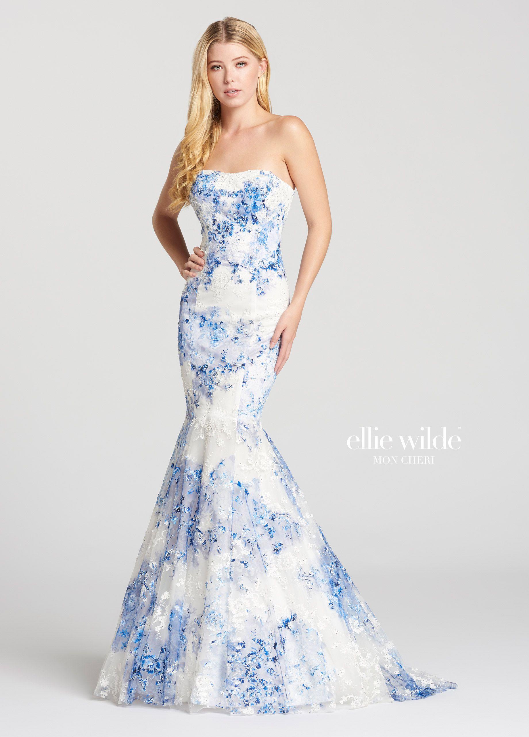 faff0e5f2ec Strapless Novelty Allover Lace Trumpet Prom Dress- EW118111 ...