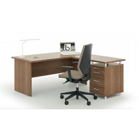 Bureau Avec Retour Et Caisson Integre Idea Pano Quadrifoglio Decoration Bureau Bureau Design Mobilier Bureau