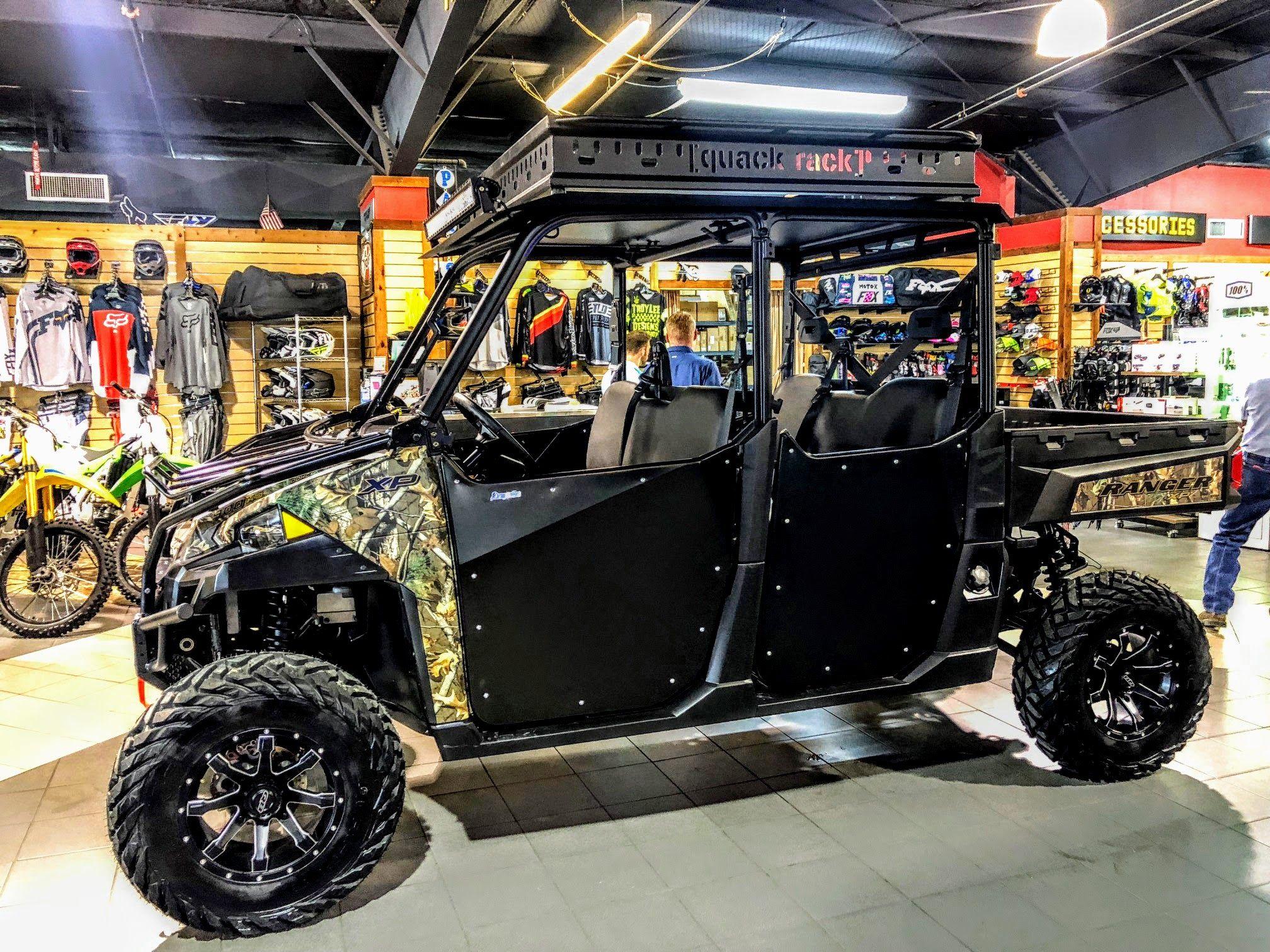 Wc3 S Latest Build A Camo Ranger 900 Crew With A Custom Quack Rack Half Doors Lift Wheels And Tires Are You Rea Half Doors Polaris Ranger Wheels And Tires