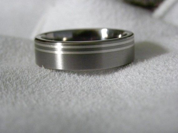 Titanium Ring with Double Silver Inlay by titaniumknights on Etsy, $60.00