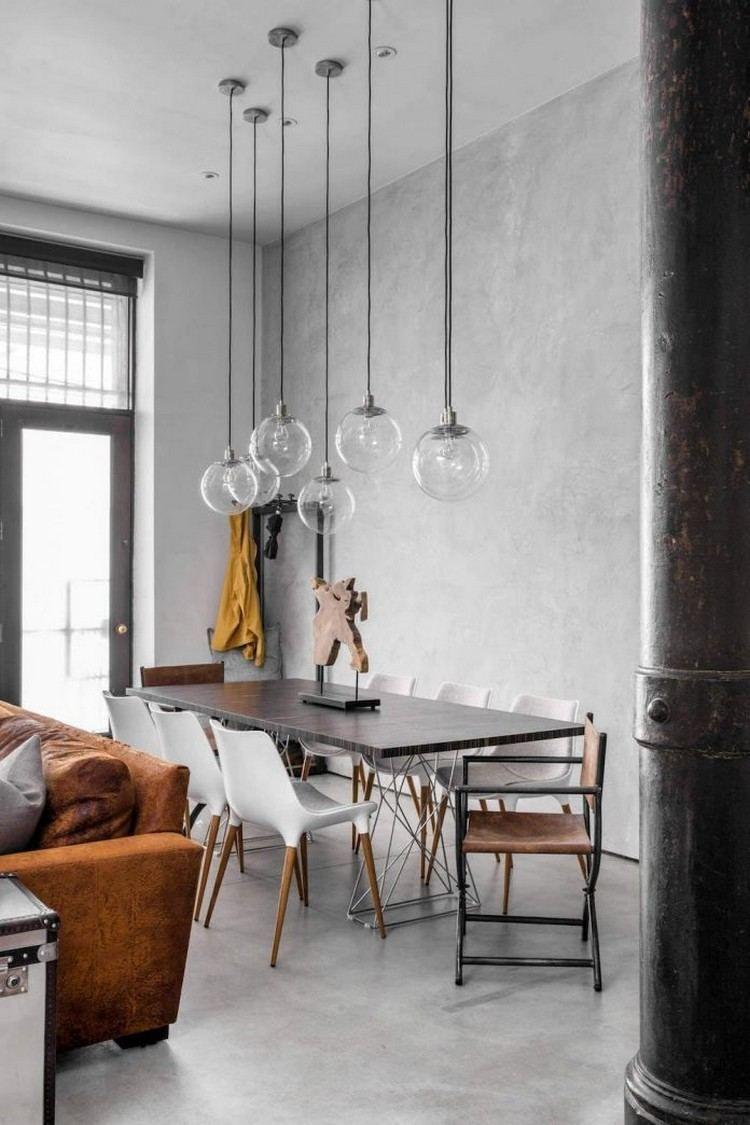 salle manger moderne avec de la peinture effet bton cir