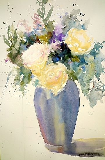 Roses by Sarah Yeoman Watercolor ~ 21 x 14