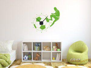 Perfect Wandtattoo Uhr mit Uhrwerk Wanduhr modern Fu ball mit