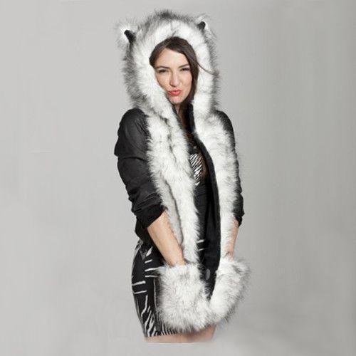 Women Girl Winter Faux Animal Fur Hat Fluffy Plush Cap Hood Scarf Shawl  Gloves 8d5afc229122