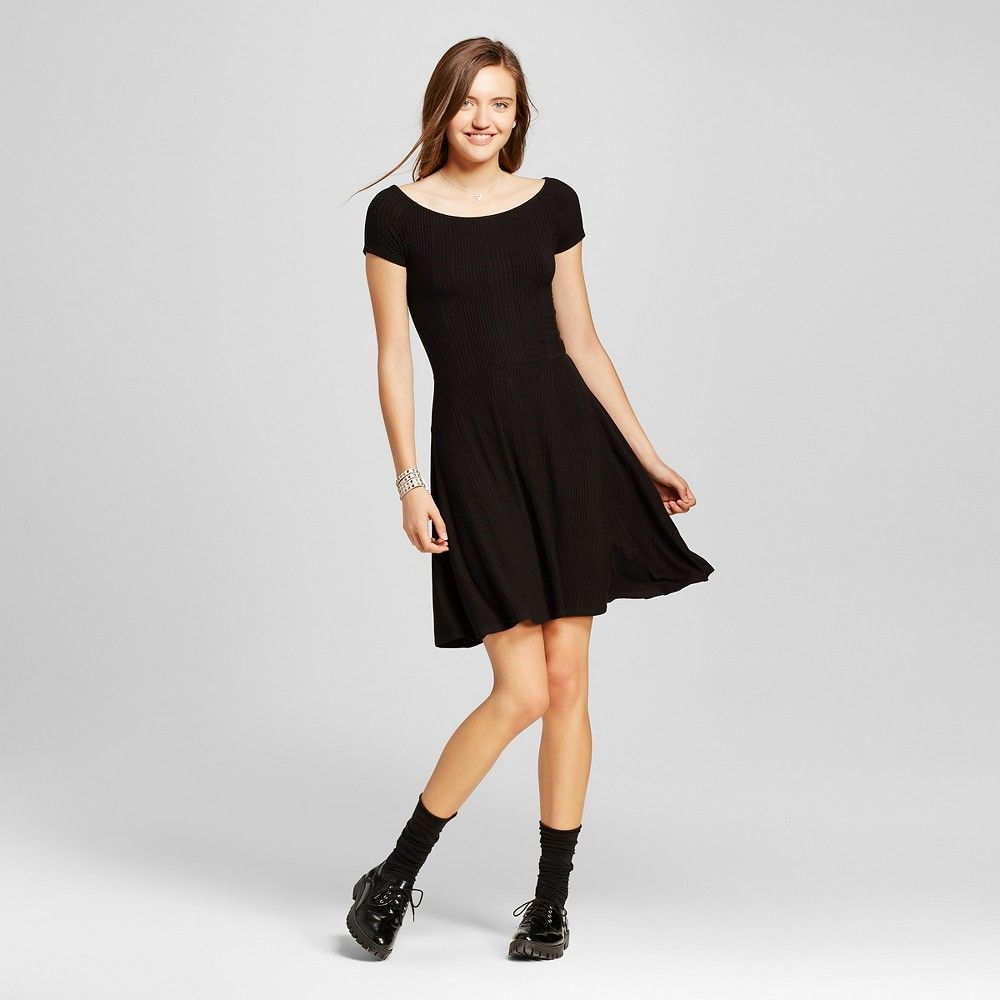 5028c0aae376 Women's Off the Shoulder Rib Skater Dress Black XS - Mossimo Supply Co.