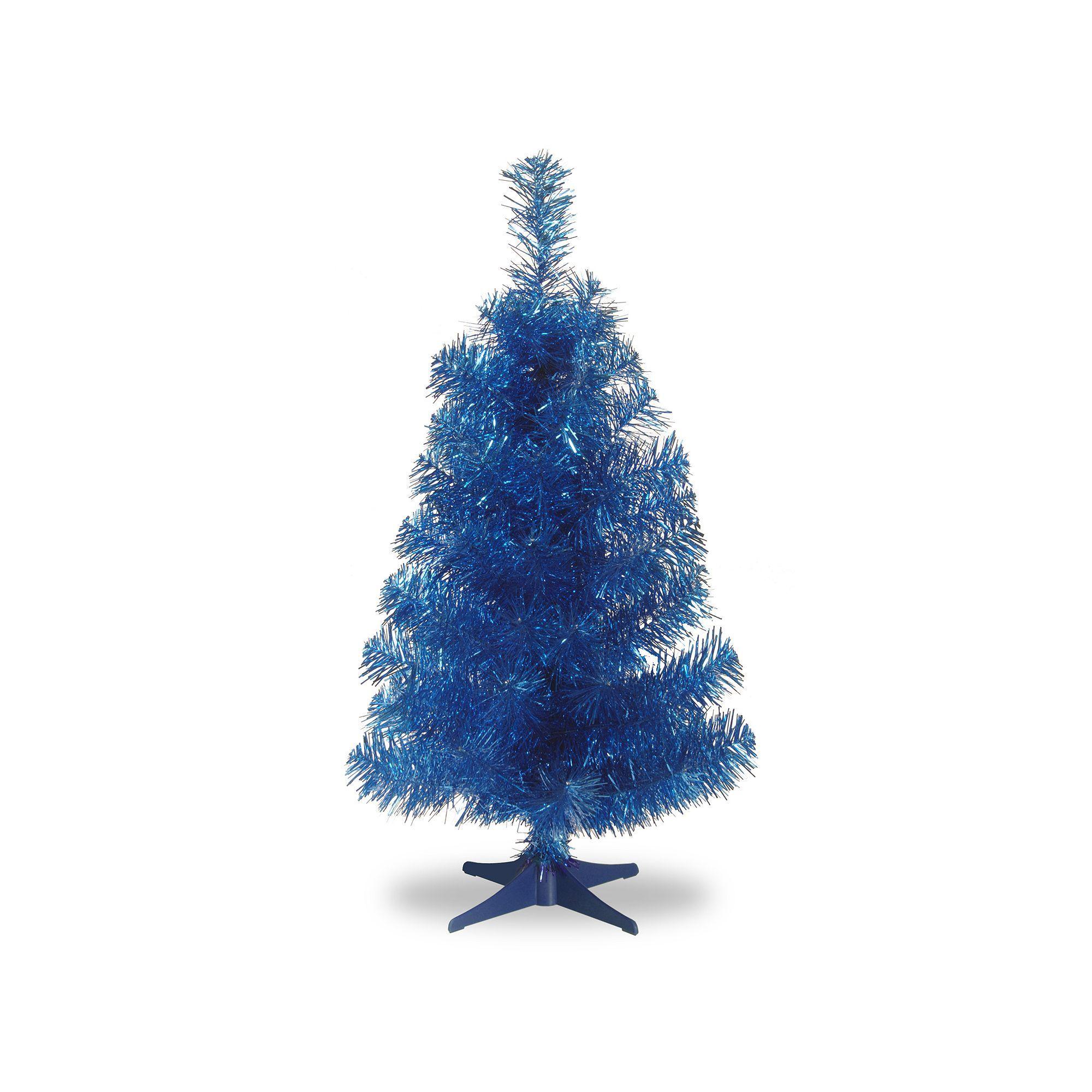 National Tree Company 3 Ft Tinsel Artificial Christmas Tree Floor Decor Blue