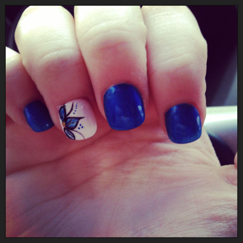 New Royal Blue and White nails | Nail designs | Pinterest | White ...