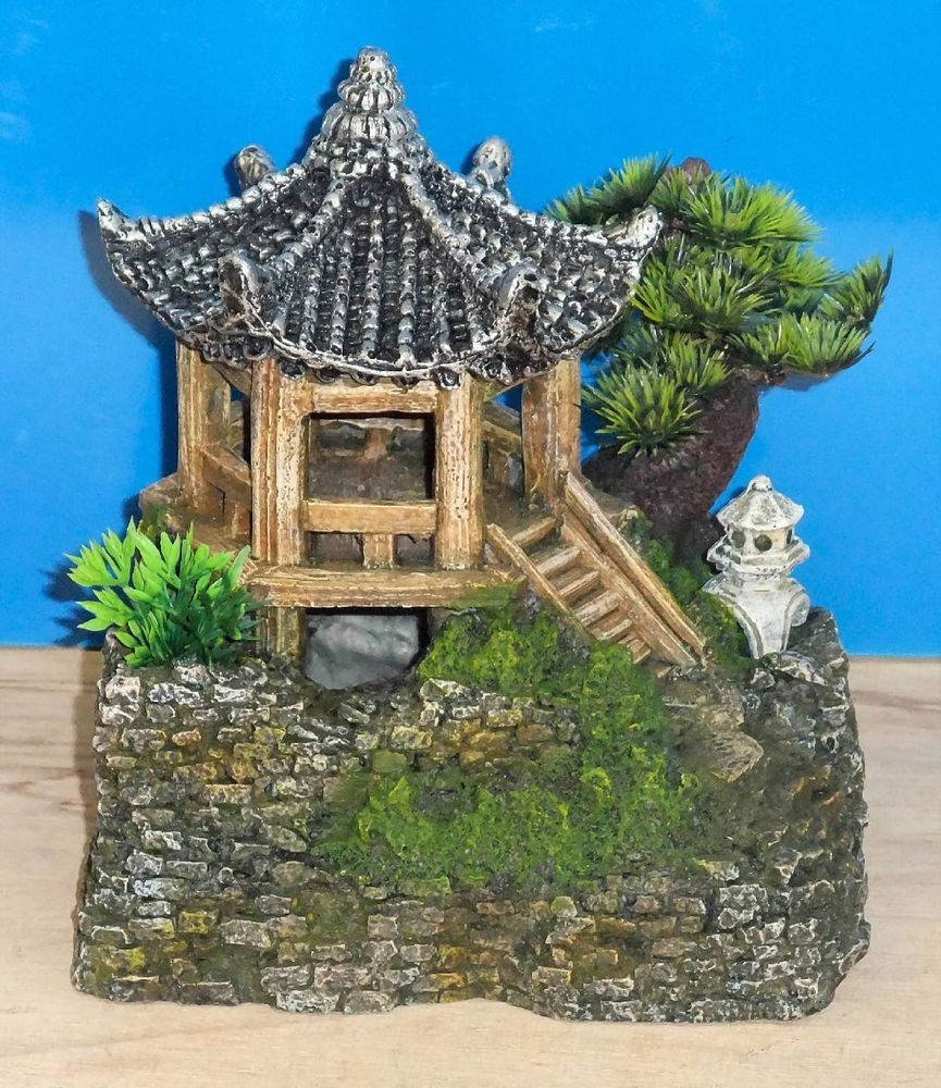 Classic pagoda house plants aquarium ornament fish tank for Japanese fish decoration
