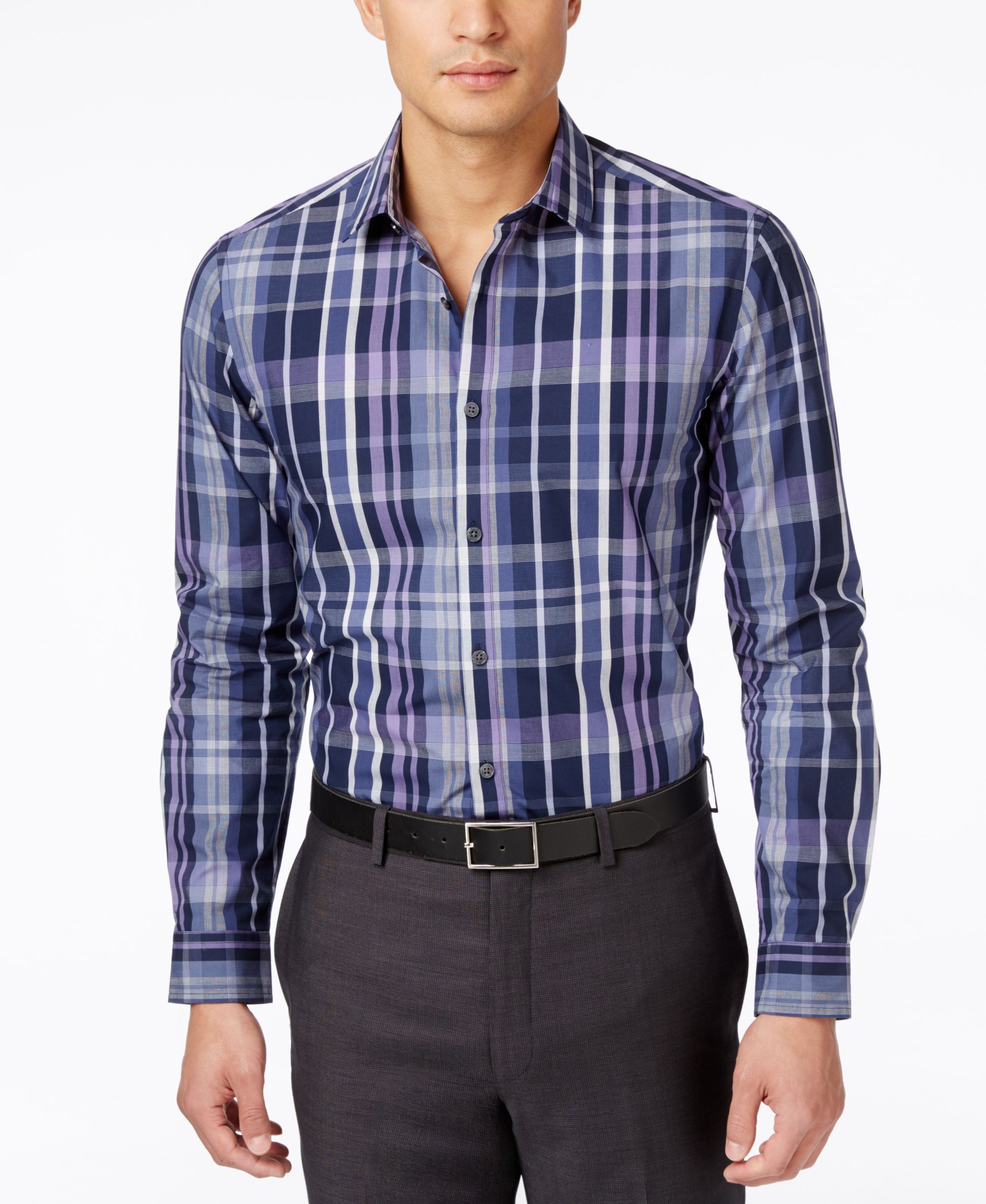 b8eb666b4e Alfani Men's Slim Locker Plaid Long-Sleeve Shirt, Only at Macy's ...