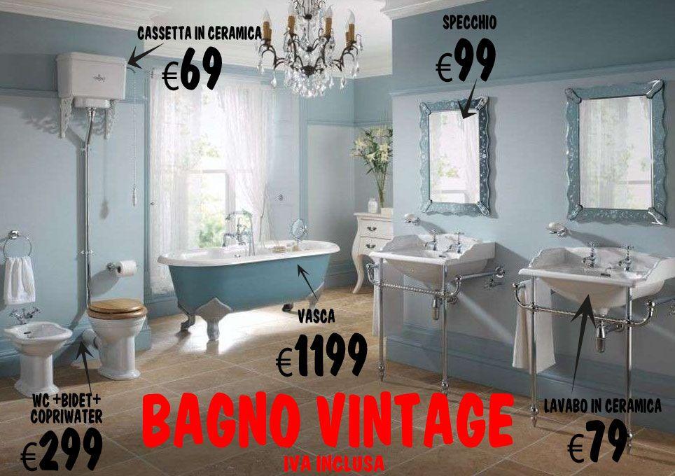 Vasca Da Bagno Vintage Prezzi : Bagno stile vintage completo di: wc bidet e copriwater cassetta
