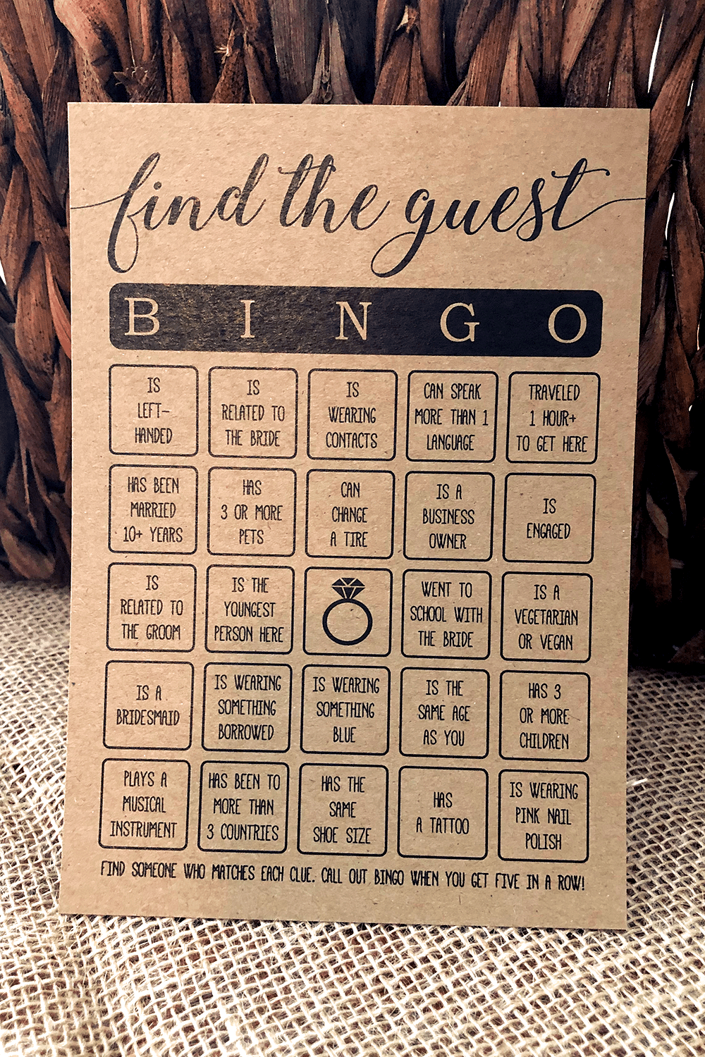rustic kraft printable virtual find the guest bridal shower game black and white