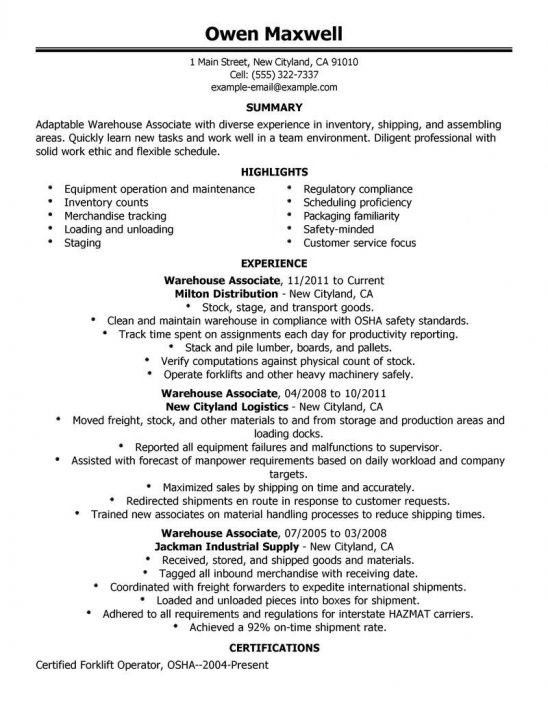 Example Resume Warehouse Worker Resume Objective Forklift Driver - job resume objective statement examples