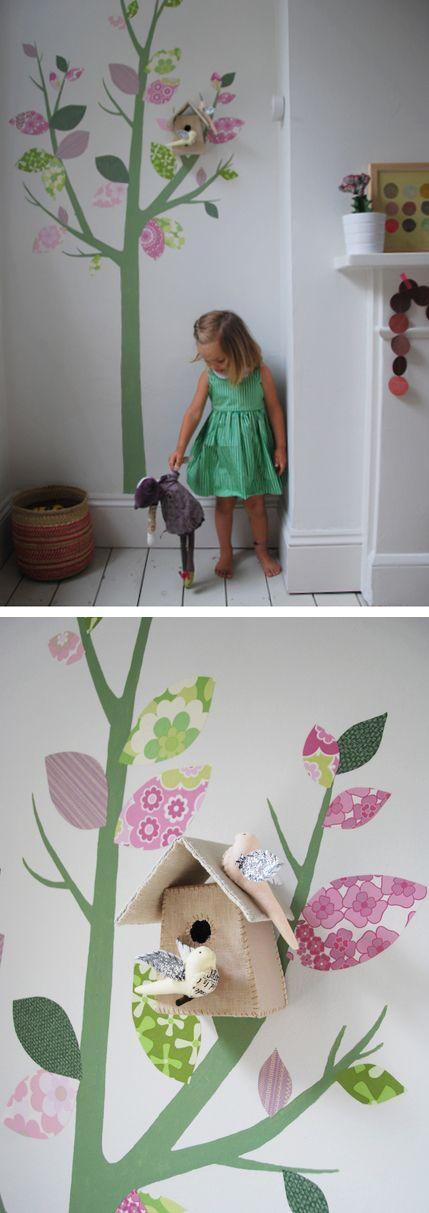 Mural arbol paredes infantiles decoracion cuarto ni o espacios para ni os y recamaras de ni as Decoracion paredes habitacion nina