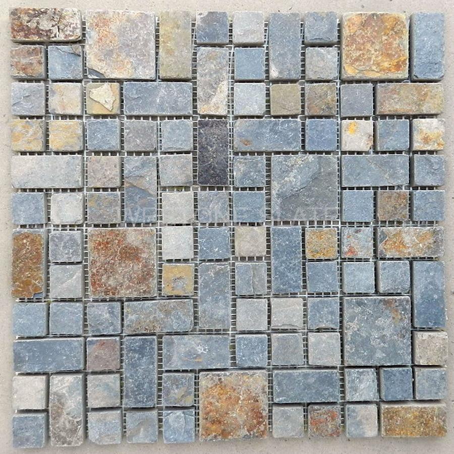 multicolor slate mosaic tiles | Slate mosaic tiles | Pinterest ...