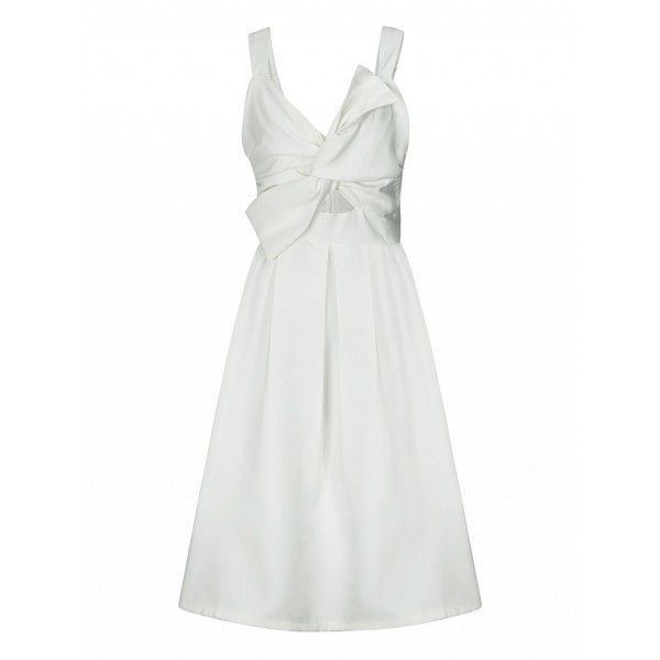 aa7a8be5e64 Choies White Twist Bow Front Tank Skater Prom Dress (55 CAD) ❤ liked on