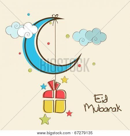 Stock vector shiny blue crescent moon with hanging colorful gift box in colorful sky background for muslim community festival eid mubarak celebrations - Bigstockphoto