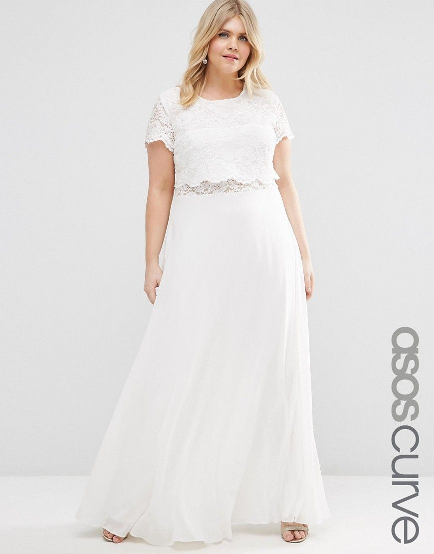 Image 1 of ASOS CURVE Maxi Dress with Lace Crop Top | engagement ...