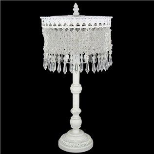 "Hobby Lobby Lamp Shades 18"" White Beaded Fringe Metal Lamp  Shop Hobby Lobby  Addie"