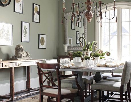 Green dining room on pinterest interior colour schemes for Dining room kitchen paint colors