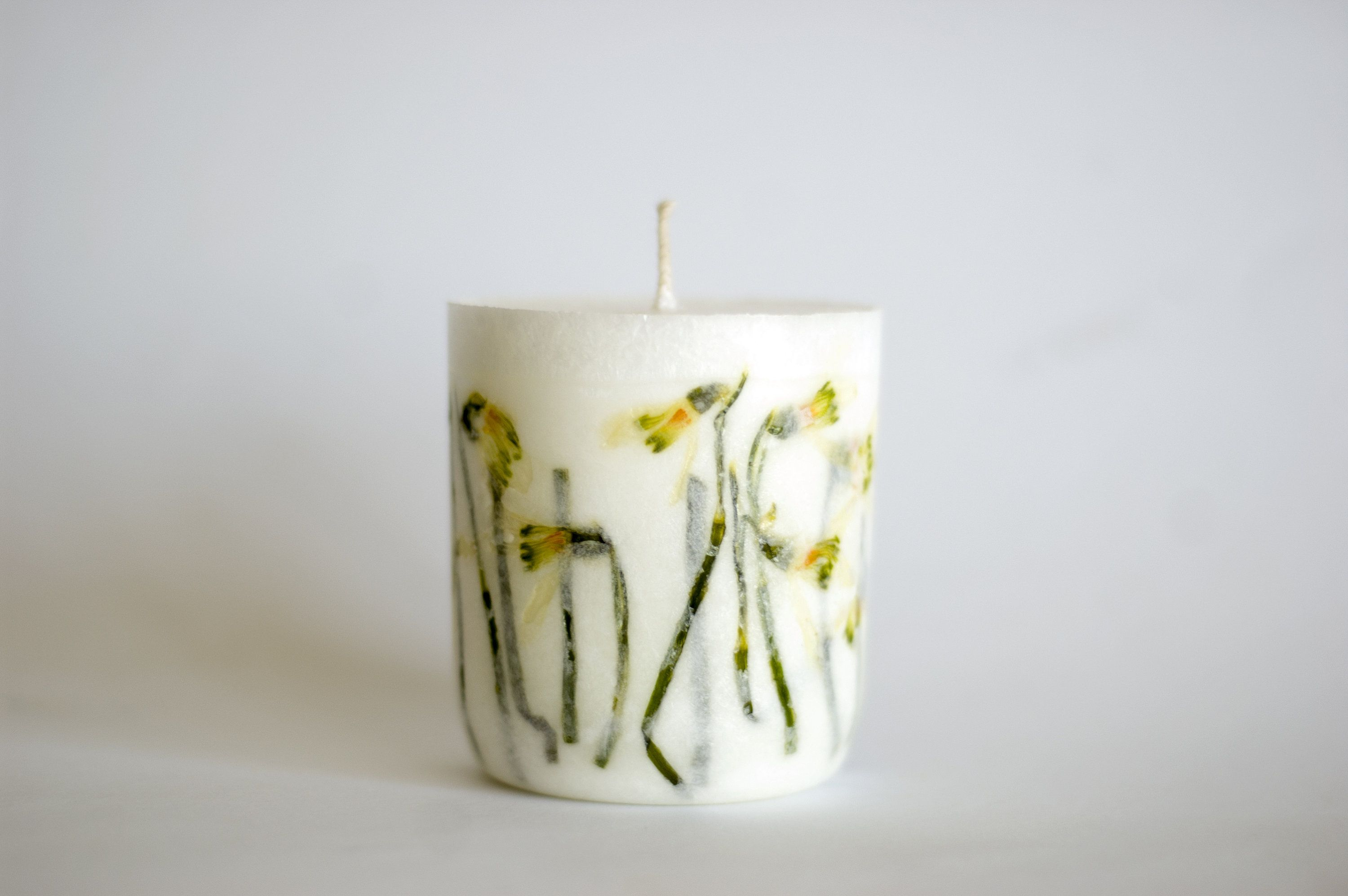 Snowdrop Candle Botanical Candle Dried Flower Candle Botanical