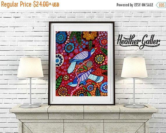 50% Off Today- Bird art Print Heather Galler Folk Art Wall decor ...