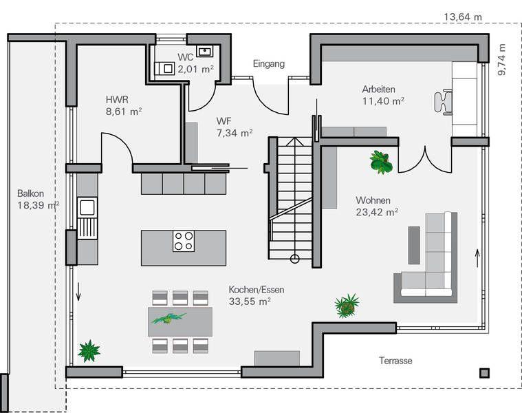 Grundriss EG Ohlig u2026 Wohnen Pinterest Grundrisse, Hausbau