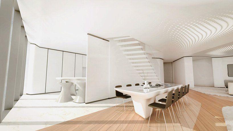 zaha hadid designs interiors for dubai s opus office tower zaha rh pinterest com