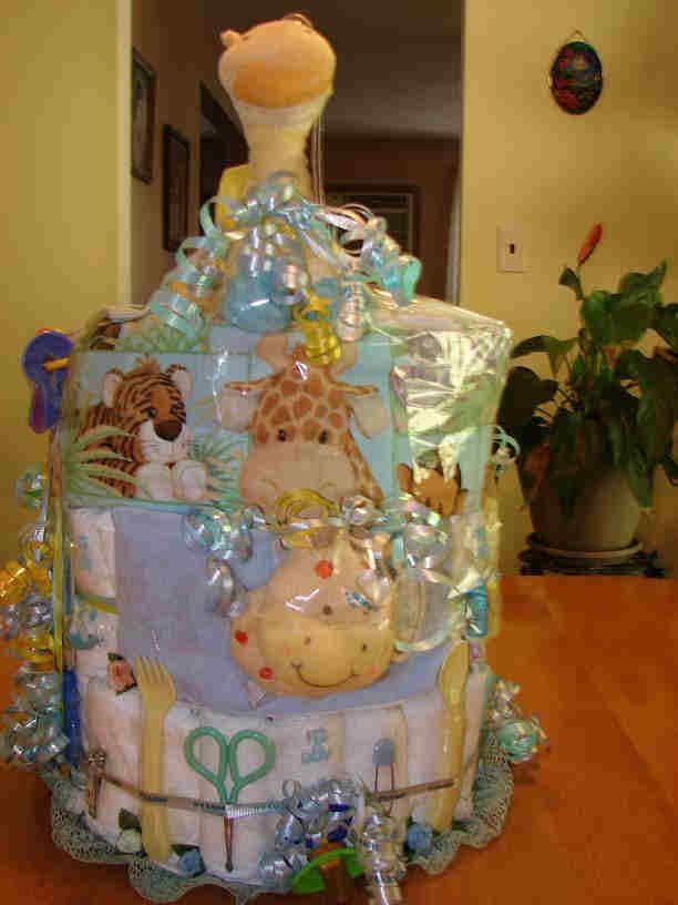 how to make a jungle diaper cake centerpiece