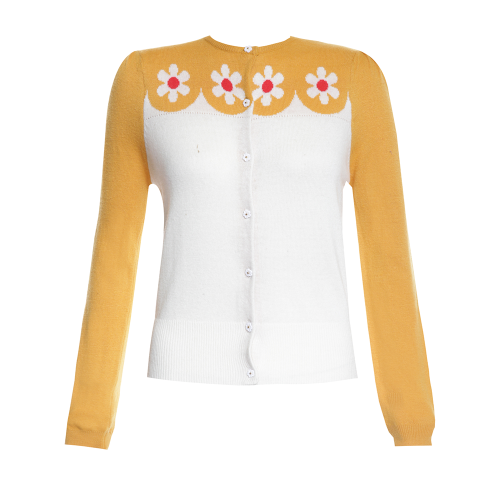 Della' Cream and Yellow Floral Knitted Cardigan | Vintage Dream ...
