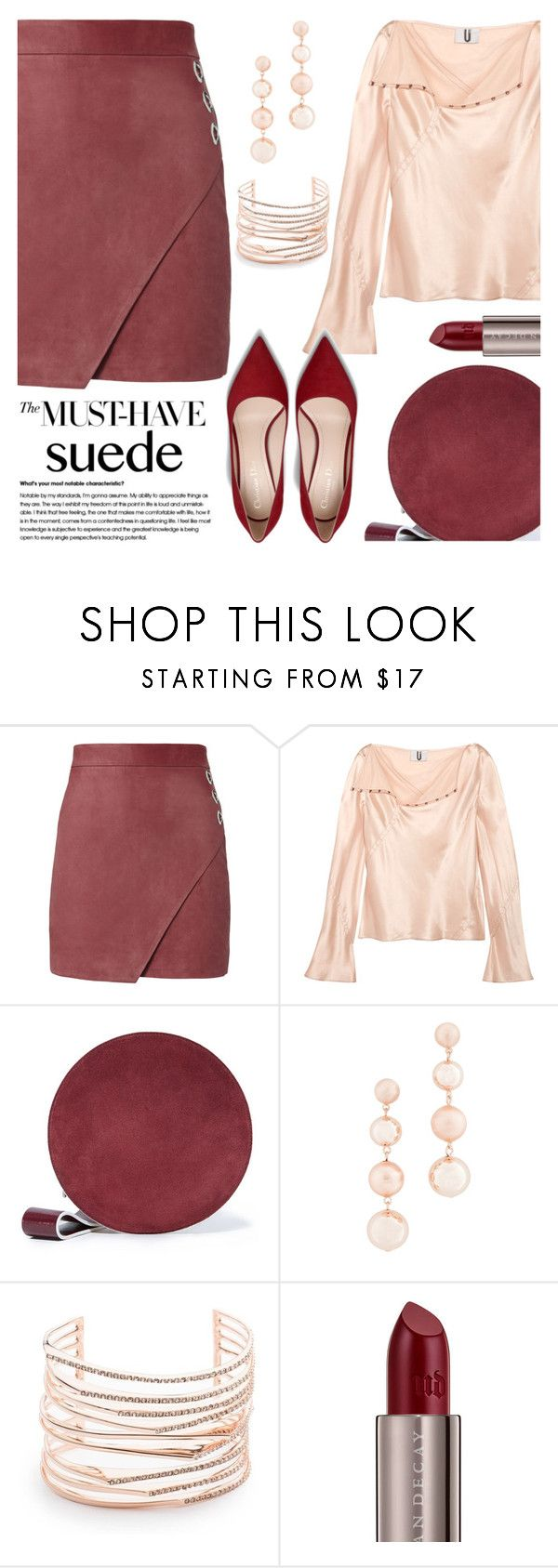 """""""The Must Have: Suede"""" by brendariley-1 ❤ liked on Polyvore featuring Michelle Mason, Topshop Unique, Diane Von Furstenberg, Rebecca Minkoff, Alexis Bittar and Urban Decay"""