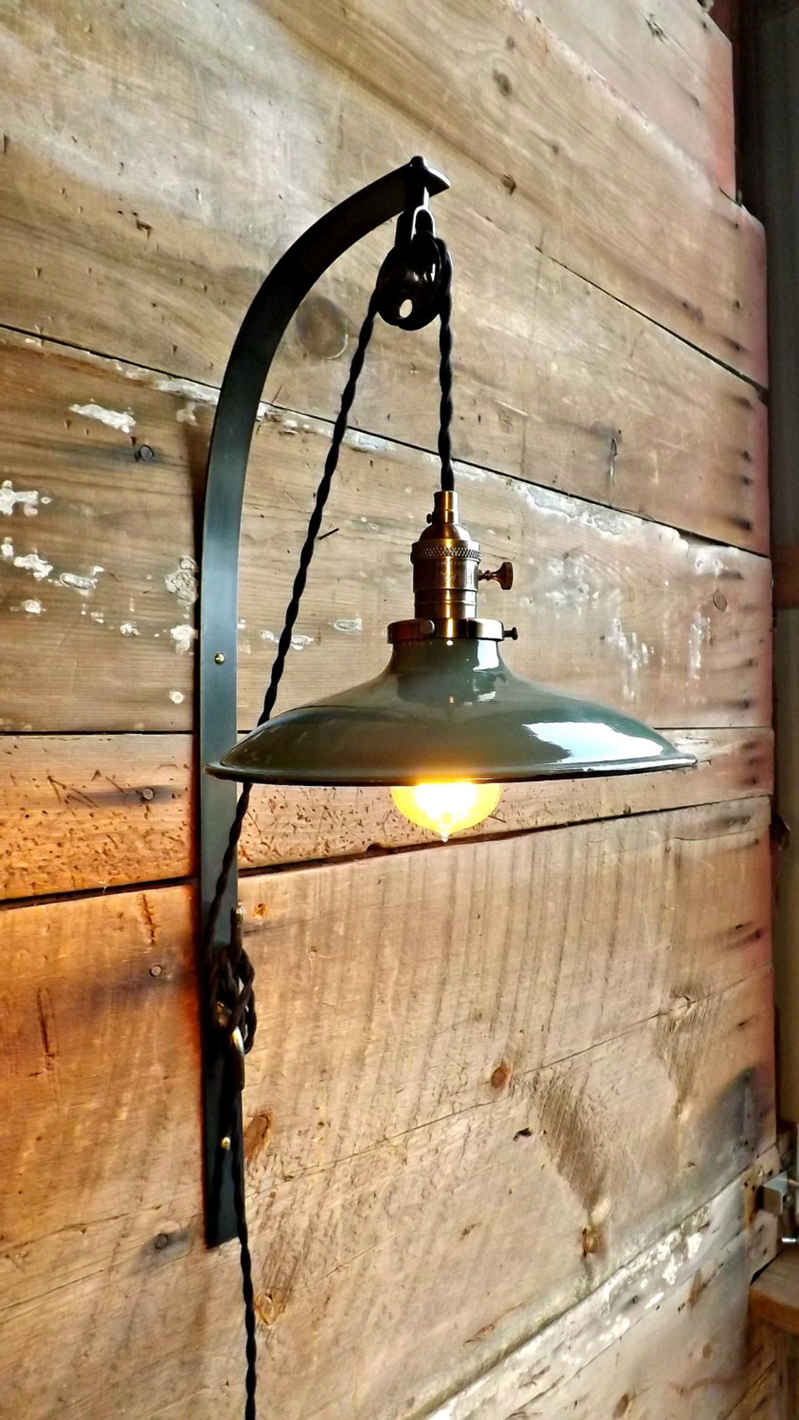 Farmhouse wall sconce lamp plug in wall light green white