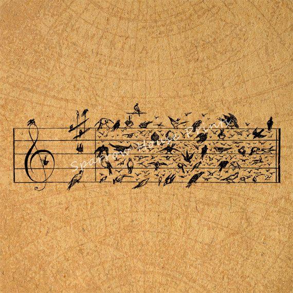 Sheet Music Wall Art antique birds music notes vintage artwork musical notation sheet
