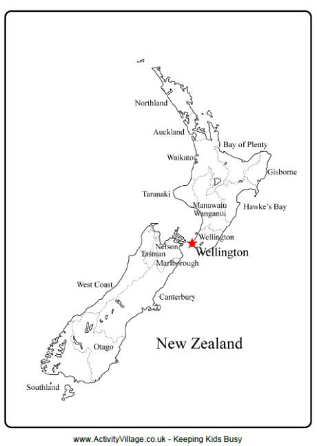 New Zealand outline map rur New Zealand, Map outline, Map