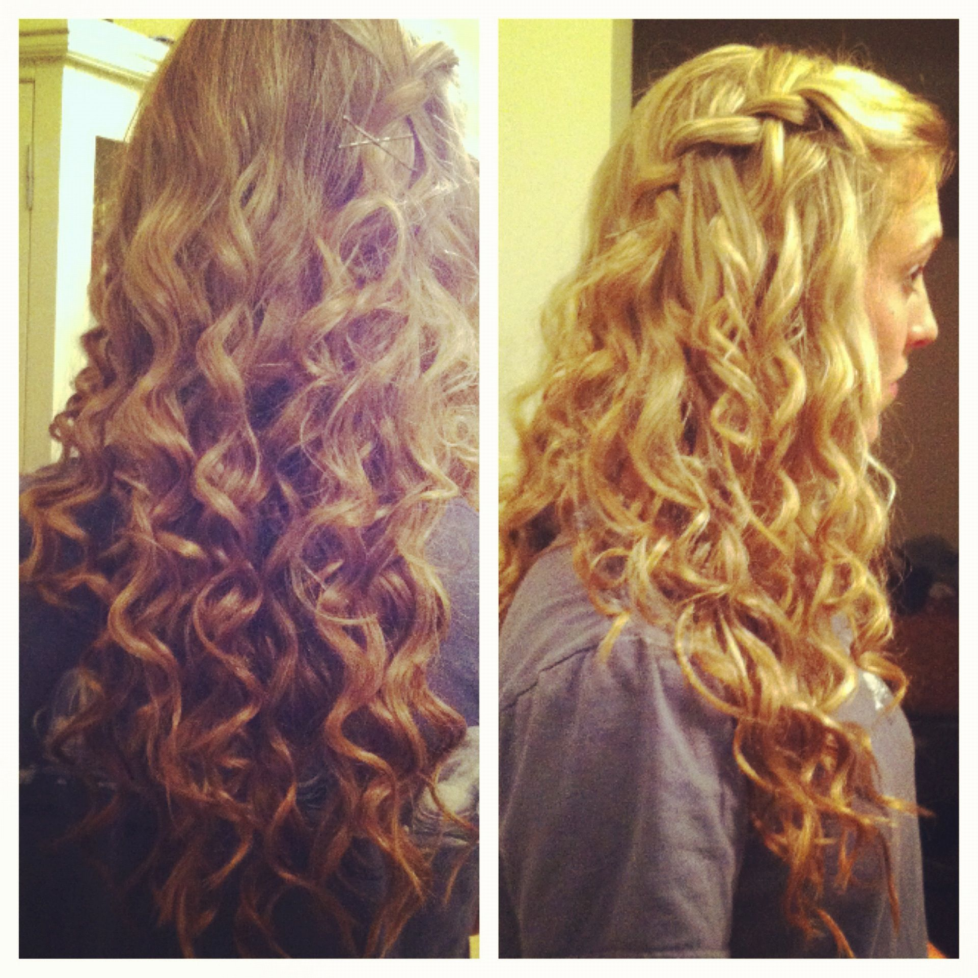Curley hair with waterfall braid wish i knew how to get curls like