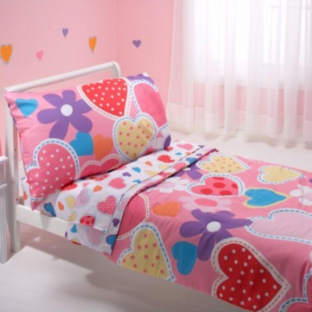 Dormitorios Con Acentos En Morado P�rpura Y Lila: Kit De Cuna Everything For Kids By Nojo Hearts 4 Piezas