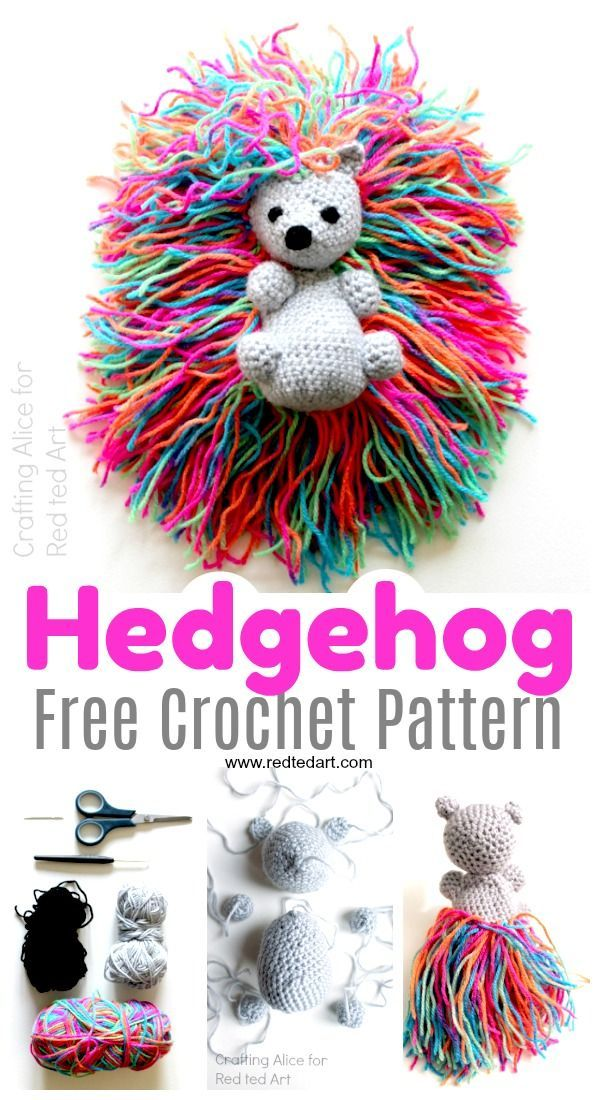 Free Hedgehog Crochet Pattern - Red Ted Art - Make crafting with kids easy & fun #stuffedtoyspatterns