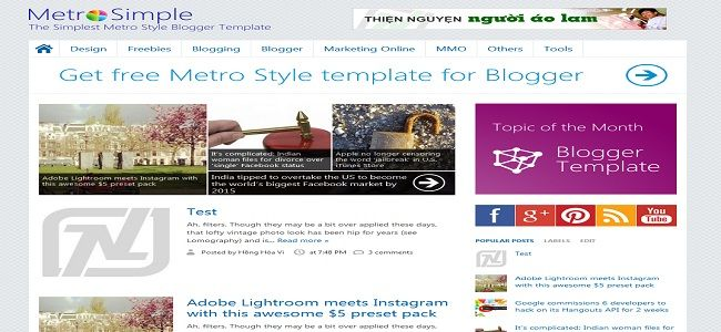 Metro Simple Blogger Template Blogger Templates Templates Blogger Marketing