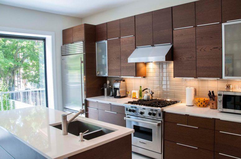 IKEA Metal Kitchen Cabinets Grey Color Mosaic Pattern Backsplash