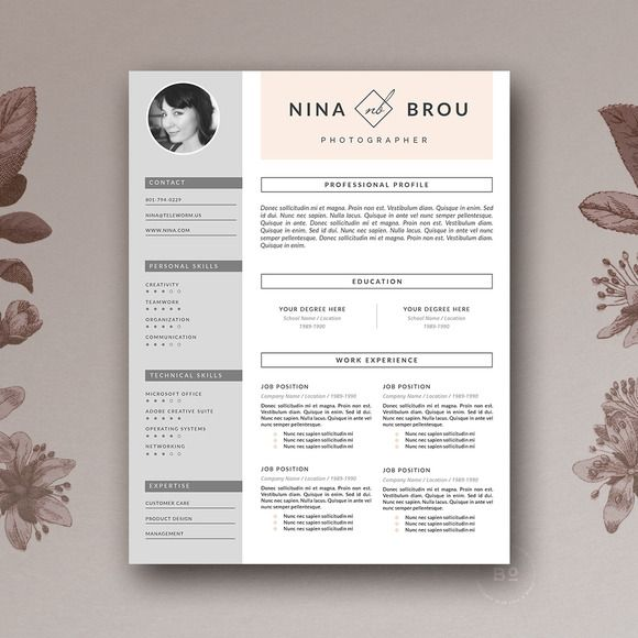 newkoko2020 resume template    cv design by botanica paperie on  creativemarket  feminine