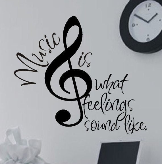 Music Wall Decal Music is Feelings, Musical Theme Vinyl Wall Lettering, Wall Quotes for Music or Dorm Room, Choir Teacher Appreciation Gift