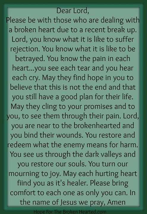 prayer for healing after a breakup
