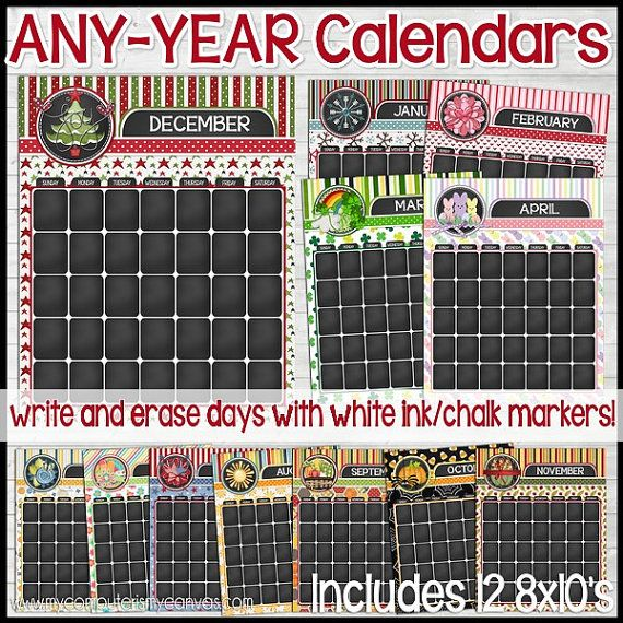 any year monthly chalkboard style calendars annual printable instant download