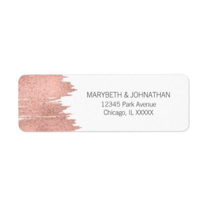 Modern Rose Gold Brushstroke Wedding Address Label Wedding - sample address label