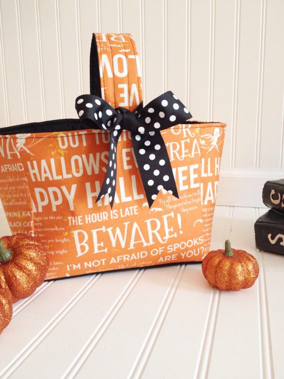 Halloween basket- Trick or Treat Bucket- Halloween bucket, pumpkin - halloween treat bag ideas