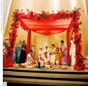 June 17 23 2012 Featuring Hindu Weddings Mandap Rochelle And Varnesh Wed Underneath A Traditional Mandap That Was Decorated With Red Fabric And Flowers