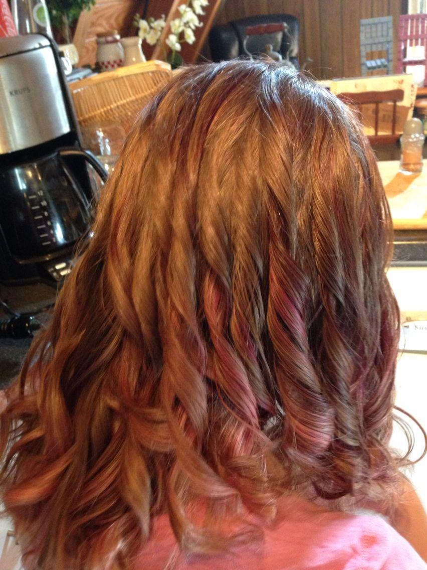 burgundy plum highlights on light brown hair!   Light ...