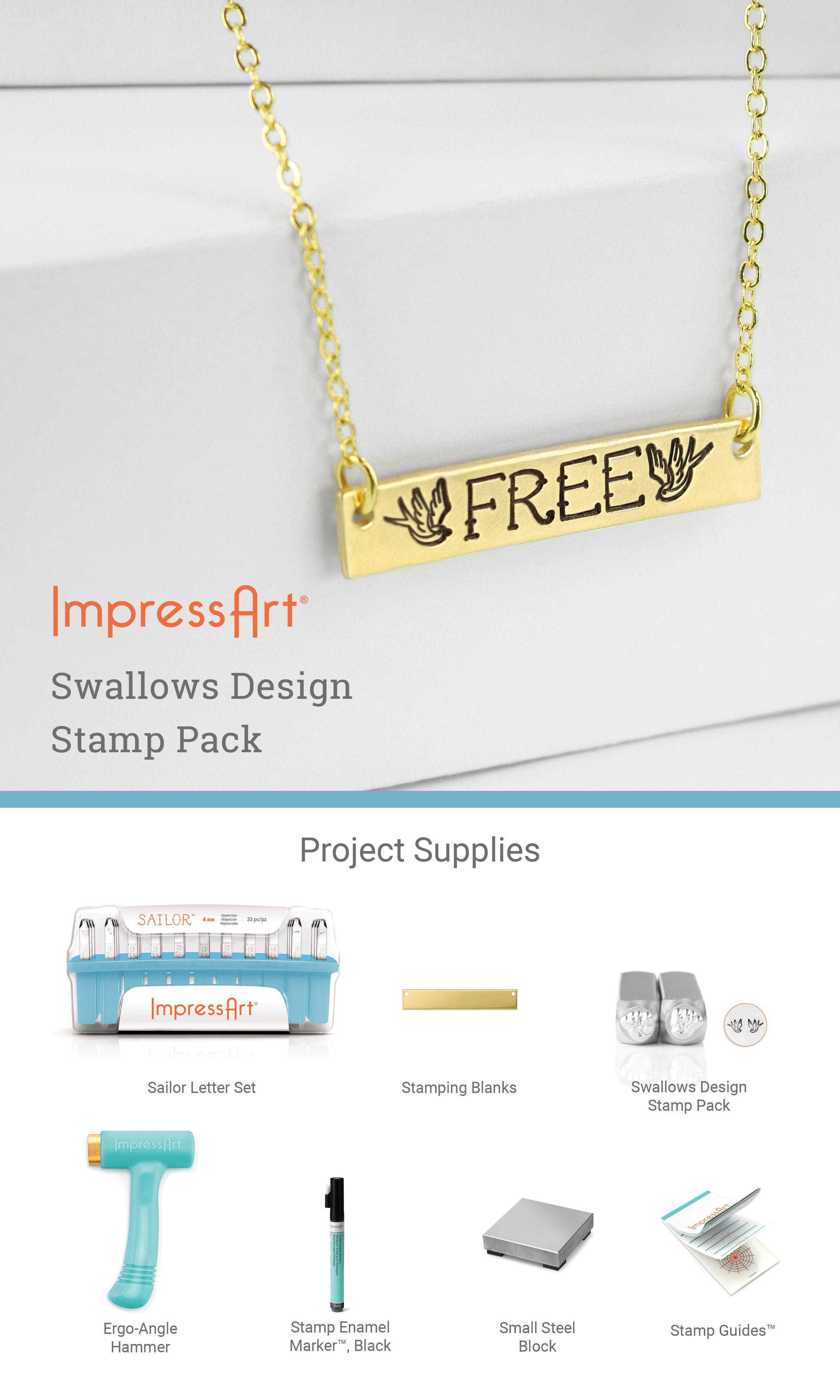 ImpressArt Swallows Metal Stamp Pack 6mm
