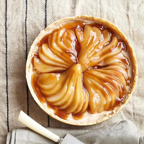 Spiced Maple Tart with Poached Pears