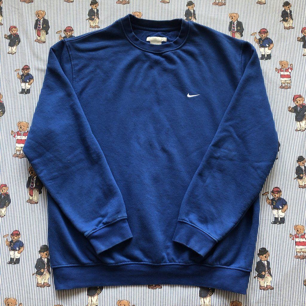 Vintage Royal Blue Minimal Nike Sweatshirt L Nike Sweatshirts Sweatshirts Vintage Sportswear [ 1024 x 1024 Pixel ]
